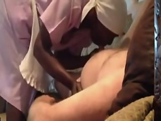 Ebony maid gives me a hot..