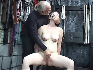 Dominant guy helps naked..